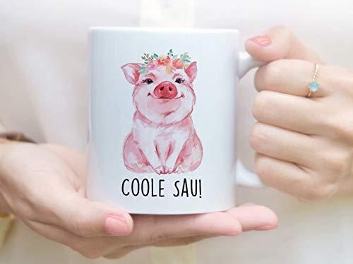 Bedruckte Tasse mit Schwein und Spruch Coole Sau
