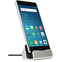 MyGadget Chargeur Dock USB C pour Android - Station de Charge pour Smartphone Samsung Galaxy A3 / A5 / S8 S9 Plus/Huawei P9 & P10 - Socle Argent
