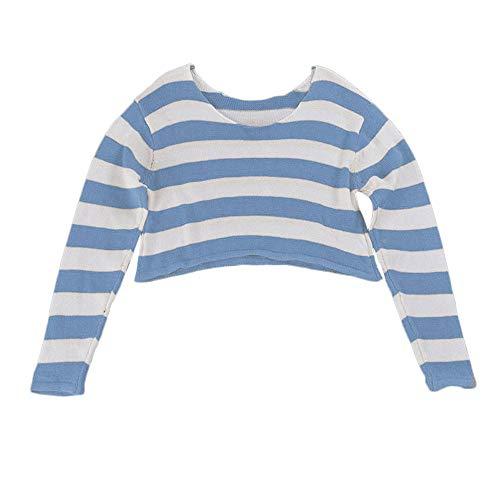 BHYDRY Frauen-Mode-Streifen-Lange Hülse gestrickte Strickjacke-Ernte-Blusen-Pullover(Kostenlos,Blau) -