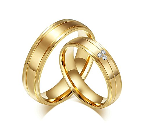 Jiedeng Schmuck Damen Ringe aus Edelstahl Ring mit CZ Zirkonia Freundschaftsringe Partnerringe Ehering Trauringe für Damen-Ring Gold Größe 60 (19.1)