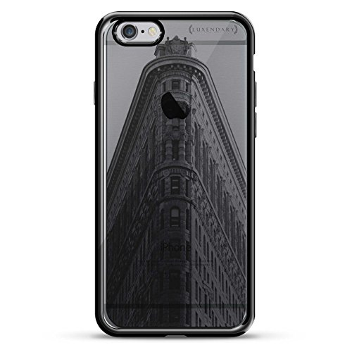 Flat Iron Finish (Flat Iron Building Seethrough Design Design Chrome Series CASE IN Titanium Black for iPhone 6/6S)