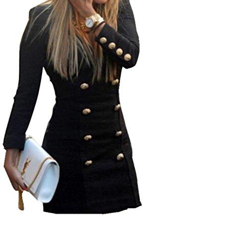 LuckyGirls Elegant Damen Kleider V-Ausschnitt Cocktailkleid Kleines Schwarzes Vintage Hülsen-Knöpfe beiläufiges bodycon Minikleid Schlank Lange Ärmel (S, (Vintage Referenz Schmuck Kostüm)