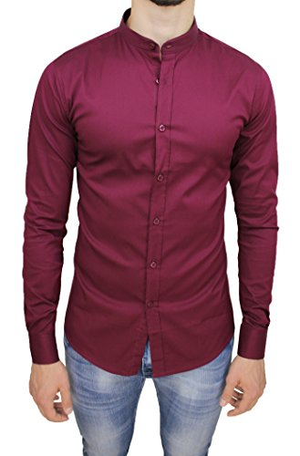 Camicia uomo cotone slim fit bordeaux casual elegante con colletto coreana (l)