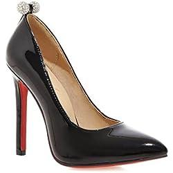 YL Damen Pumps High Heels Lack Rote Unterseite Stilettos Schuhe (33, schwarz)