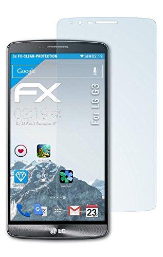 LG G3 Schutzfolie - 3 x atFoliX FX-Clear kristallklare Folie Displayschutzfolie
