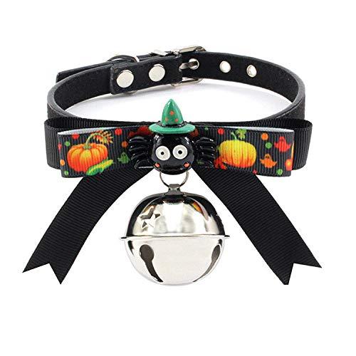 THFPetting Sicherheitsgeschirre für Hunde Bandbogen-Hundehalsband Weihnachtsband-Haustier-Kragen Halloween GBD-B056-2_XS (Halloween Reflexiones Del)