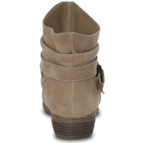 CASPAR Damen Vintage Stiefelette mit Metall Dekor und kurzem Schaft Khaki