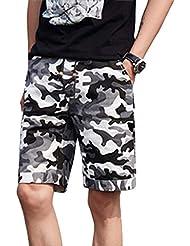 129fe39d6f FRAUIT Pantalones Cortos Deportivos para Hombres Pantalones de Camuflaje  con Cremallera Y Bolsillo Pantalones Cortos EláSticos