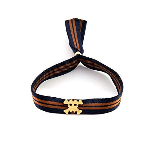 Verstellbares Unisex Armband mit Gummiband und Totenkopf. Surf Mann Armband. Armband Frau Yoga. Retrostyle.Vatertagsgeschenk. Papa Geschenkideen (Einzigartige Kostüme Frau)