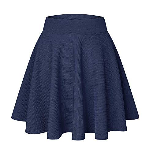 Plissee Damen Rock (YOUCHAN Röcke Damen Madchen Faltenrock Tellerrock Glockenrock Skaterrock Basic Vielseitige Dehnbaren Informell Kurz Lang(Navy Blue,D,XL))