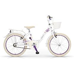 """MBM Fleur - Bicicleta de paseo para niña, cuadro de acero talla 30, frenos V-Brake, ruedas de 20"""", color blanco"""