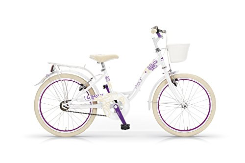 MBM  Fleur  – Bicicleta de paseo para niña, cuadro de acero talla 30, frenos V-Brake, ruedas de 20″, color blanco