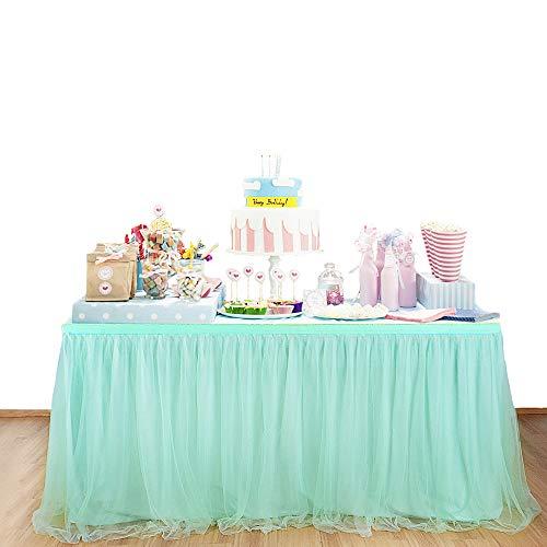 BEST OF BEST Tüll-Tischdecke für Partys, Hochzeiten, Bankett, Heimdekoration, knitterfest, Tischdecke für Weihnachten, Partys grün (Für Tischdecken Grüne Hochzeiten)