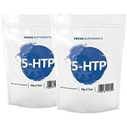 Reines 5-HTP Pulver - Hebt die Stimmung | UNTERSTÜTZT BEIM ABNEHMEN | Natürlich & Rein - Focus Supplements - Verpackt in ISO-zertifizierten Betrieben in Großbritannien (100g)
