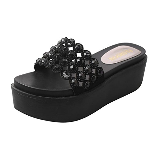 SANFASHION Große Förderung Frauen Mode Einfarbig Kristall Dicke Bottom Flatform Schuhe Sandalen