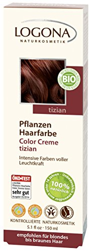 LOGONA Naturkosmetik Coloration Pflanzenhaarfarbe, Color Creme - 220 Tizian - Rot, Natürliche & pflegende Haarfärbung (150g)