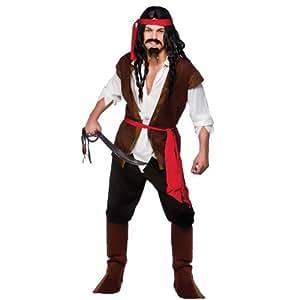 (S) Mens Caribbean Pirate Man Costume for Sea Buccaneer Fancy Dress Mans Male