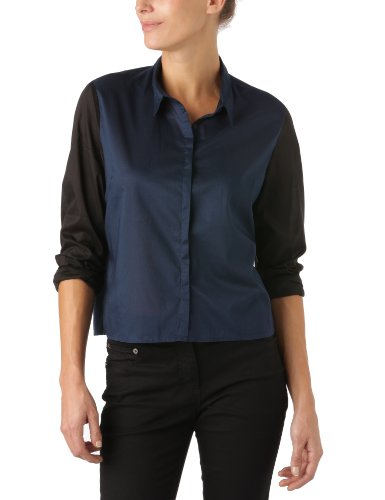 Cheap Monday - Maglia Active, manica a 3/4, donna, Blu (Deep Sea Blue / Black), M