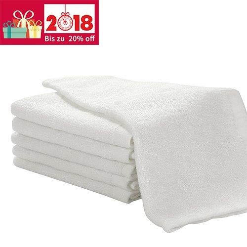 6er Pack Baby Waschlappen Super weich 25/25cm 100% Bambus-Baumwolle Weiß, von Future Founder (Baby Waschlappen)