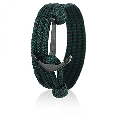 Skipper Anker-Armband mit Schwarzem Edelstahl Anker für Damen und Herren - Grün/Schwarz 6640