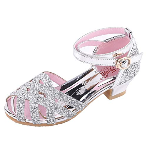 AIni Schuhe Baby Mode Beiläufiges 2019 Neuer Kleinkind Kinder Mädchen Bling Pailletten Single Prinzessin Schuhe Sandalen Tanzschuhe Krabbelschuhe Kleinkinder Schuhe Lauflernschuhe(31,Silber) -