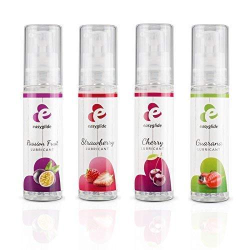 Easyglide Lubricant Gleitgel 120 ml Geschenkbox - mit Geschmack Gleitmittel auf Wasserbasis - Passionsfrucht Erdbeere Kirsche Guarana für Gefühlsechtes empfinden