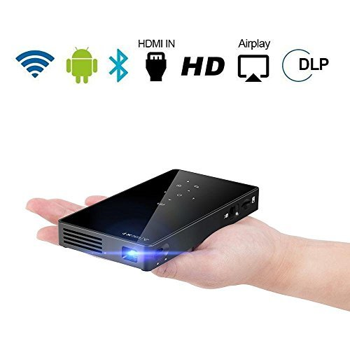 "PTVDISPLAY Portable Mini Projector, Android 7.1 Smart Pocket Video Projectors, 100ANSI DLP Pico Home Cinema with WiFi/Bluetooth/Speaker/Auto Keystone Support HDMI USB TF Card, 130"" Wireless Display"