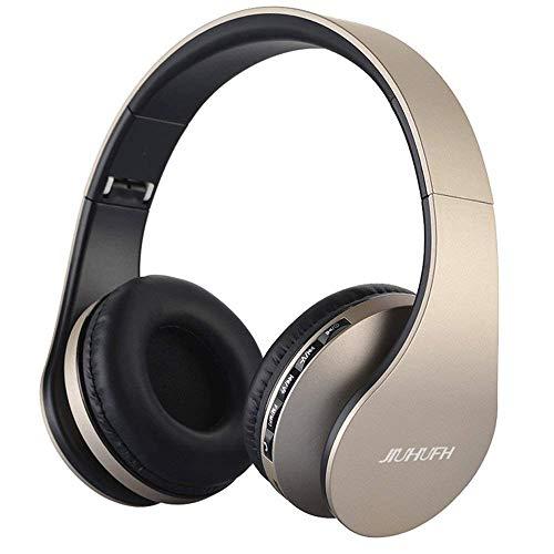 JIUHUFH Premium Bluetooth Kopfhörer Multifunktion Faltbar mit Eingebautem Mikrofon/MP3-Player/Support-Freisprech Anrufe/3.5mm Verdrahtete Audio-in für Handy/TV/PC/Mac - Champagne Gold
