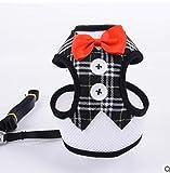 njhswlti Weste-Stil Abendkleid Bogen Brust Rücken atmungsaktiv Mode Katze Hund Heimtierbedarf schwarz Plaid, M