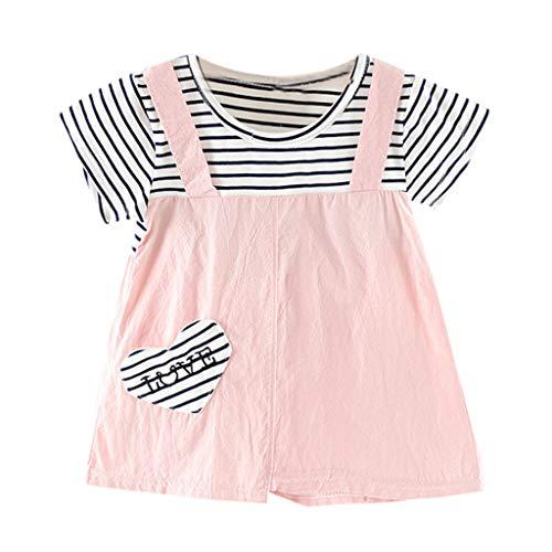 MISSWongg_Babykleidung Baby Kostüm Mädchen Kleider Gestreifte Brief Herz gedruckt Kleid Party Prinzessinenkleid Kinder Sommer Kleidung