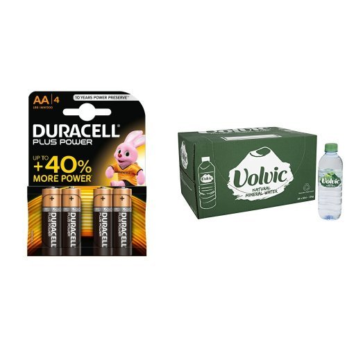 Price comparison product image Duracell Plus Power AA Alkaline Batteries,  4 Batteries and Volvic Still Mineral Water,  24 x 500ml
