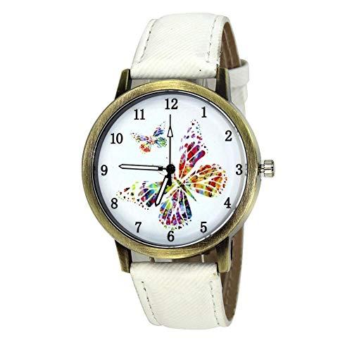 Dilwe Armbanduhr, Kausale Jean Armband Legierung Fall Mädchen Quarz Exquisite Band Watch für Freund Familien Mädchen Geschenk(Weiß) Denim Fall