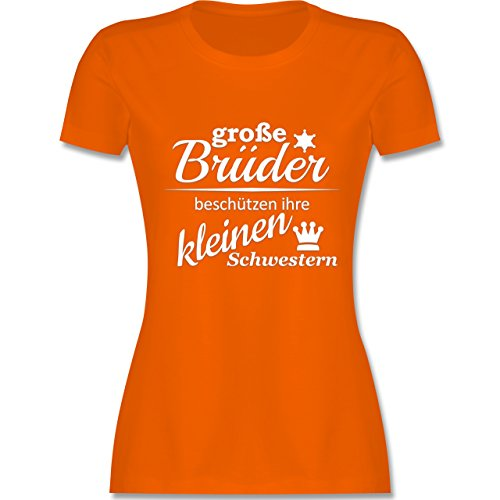 Sprüche Große Brüder tailliertes Premium TShirt mit Rundhalsausschnitt für  Damen Orange