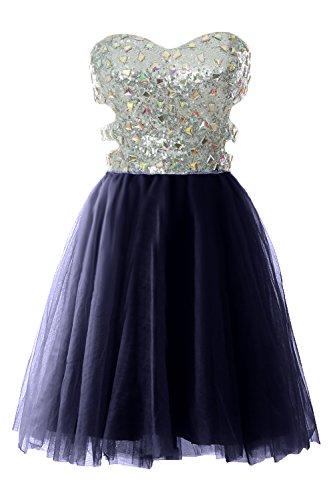 MACloth Women Strapless Cutout Sequin Short Prom Evening Dress Formal Ball Gown Dark Navy