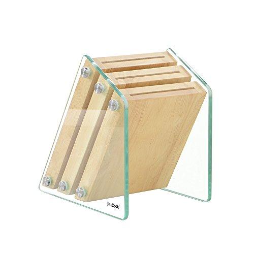 ProCook | Messerblock aus Glas und Holz | 3 Aufnahmen | unbestückt