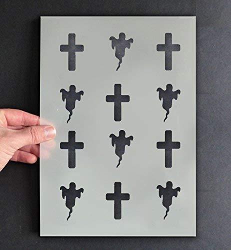 Halloween Stil Schablone Geister & Kruzifix Muster Dekor & Kunst Handwerk Malen & Gestalte Zeichen,Wände, Stoffe, Möbel wiederverwendbar ... - XS/11X17CM