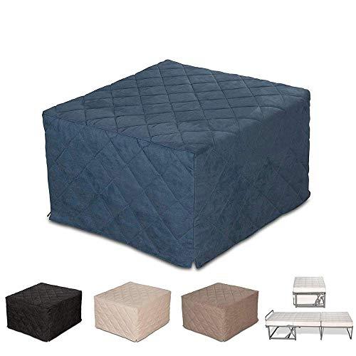 EvergreenWeb–Puf cama individual con colchón, 10cm de altura - Suite, Varios colores–Cama individual ahorra espacio –Puff reposapiés–Desenfundable, turquesa