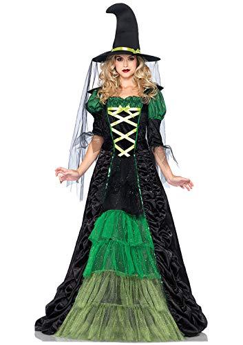 Storybook Erwachsene Kostüm Für Witch - LEG AVENUE 85240 - Storybook Witch Damen kostüm, Größe M/L, schwarz/grün