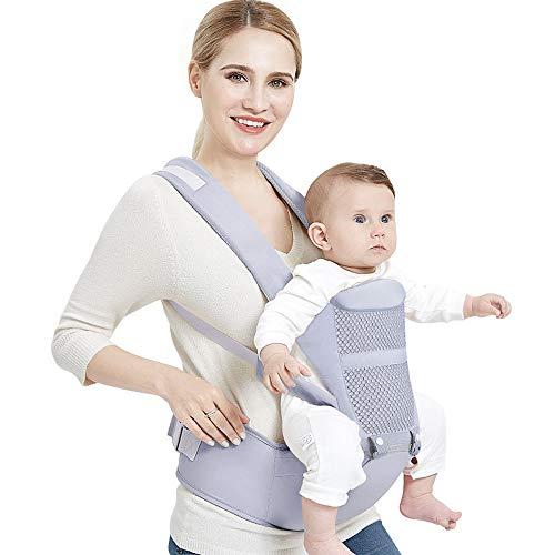LIBWX 0-48 Meses Mochila portabebés ergonómica con Asiento de Cadera para recién Nacido Multi-función Infantil Sling Wrap Stool Baby Kangaroo,Rosado
