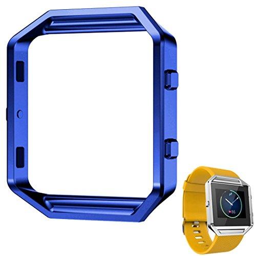 Fulltime LFQ-65 Luxus-Uhr aus Edelstahl Ersetzen Metallrahmen -Uhr-Halter Uhrenarmband für Fitbit Blaze Smart Watch (Blau)