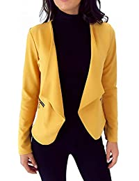 Veste de Blazer Femme Moutarde avec Poches et Zip doré fictif c74d5ff07fed