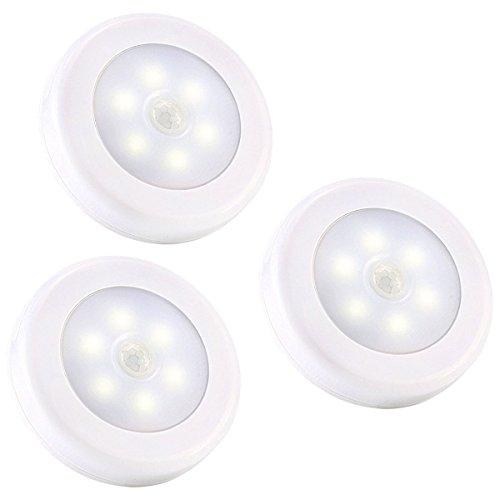 LEDemain® [ SET A 3 PEZZI ] Luce Notturna a LED, Lampada da Armadio PIR Sensore di Movimento a Batterie, Colore Bianco