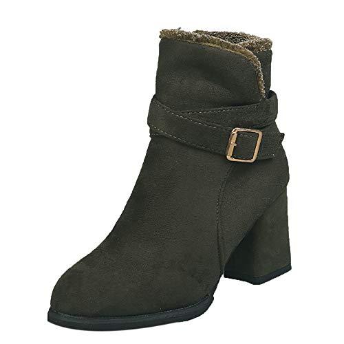(Sannysis Stiefeletten Damen Elegant Frauen Stiefeletten Martin Stiefel Seitlichem Reißverschluss Gürtelschnalle Booties Party Boots)