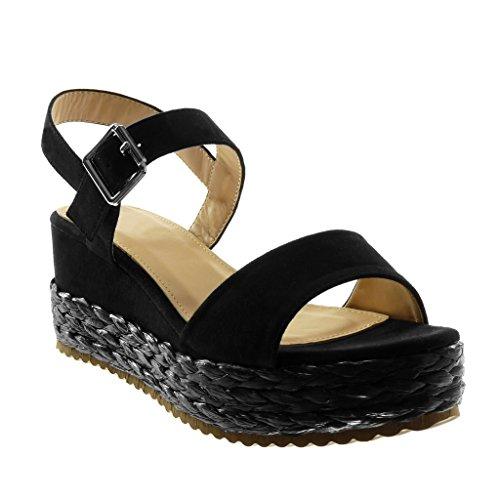 Zapatillas de Moda Sandalias alpargatas abierto de plataforma Tobillo mujer #09 Negro 41 v9EMQEul