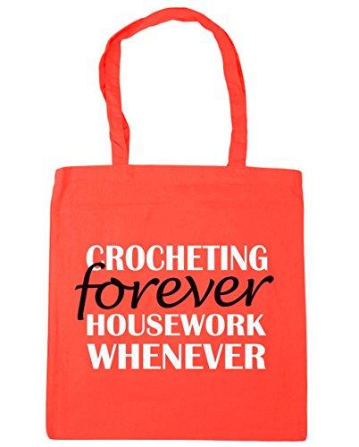41cVC paJ7L BEST BUY #1HippoWarehouse Crocheting Forever Housework Whenever Tote Shopping Gym Beach Bag 42cm x38cm, 10 litres