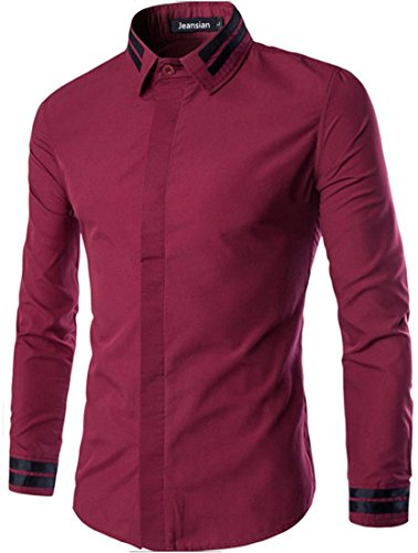 Jeansian Hommes Fashion Chemises Manches Longues Men Casual Shirt Slim Fit Tops 84C5 WineRed