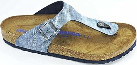 Birkenstock Damenschuhe 1005361 Gizeh SFB Blau (Used Jeans Blue ), EU 41, normale Weite