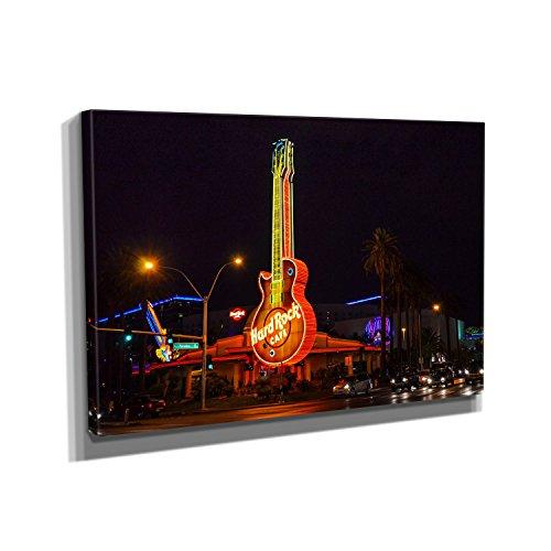Nerdinger Vegas Cafe - Kunstdruck auf Leinwand (90x60 cm) zum Verschönern Ihrer Wohnung. Verschiedene Formate auf Echtholzrahmen. Höchste Qualität. (Casino Dekoration Ideen)