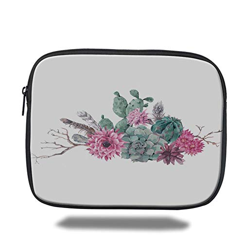 Laptop Sleeve Case,Succulent,Feathers Flowers Cacti Ethnic Hipster Elements Vintage Fashion Decorative,Sage Green Light Pink Mauve,Tablet Bag for Ipad air 2/3/4/mini 9.7 inch Ultra Light Feather Case