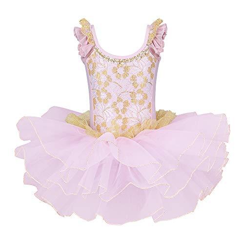 ZNYUNE Mädchen Ballettkleid Ballettanzug Ballett Kleider Turnanzug Trikot Leotard Tutu Tütü Tanzkleid Rock Kostüm Tanzkleidung Rosa 4-5 Jahre